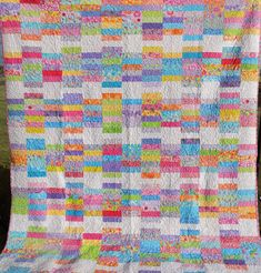 Queen Size Girls Quilt with bright multi by DoublePinQuiltsEtc