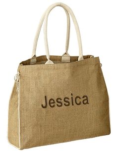 """Jute Bag Size: 17""""L x 14""""H x 5.5""""W An eco-friendly jute tote for the earth minded individual. This spacious and ultra-cool beach bag is just what you need for a shopping bag. It makes an elegant gift for your bridal party or for guests attending your beach or destination wedding. This bio-degradable bag is made from natural jute fibers and has dual cotton wrapped handles that fit comfortably over the shoulder. It features a 5-1/2"""" gusset and twin cotton side ties. The bag is 17"""" wide and…"""