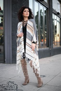 Polished whimsy in leather leggings, criss cross top, over the knee boots and poncho Criss Cross Top, Pattern Mixing, Leather Leggings, Colorful Fashion, Over The Knee Boots, Winter Outfits, Winter Fashion, Kimono Top, Tops