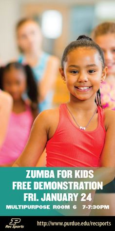 Come and learn how to do Zumba for kids in our free demonstration! More information at http://www.purdue.edu/recsports/programs/fitness_and_wellness/learn_to_play/index.php #movemoreachievemore