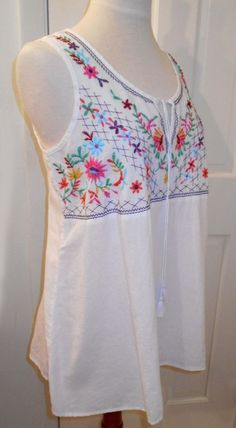 3949ff742a1 New  68 BEACH LUNCH LOUNGE Embroid Floral Boho Peasant Spring BLOUSE SHIRT  TOP~L  BeachLunchLounge  Peasant  Casual
