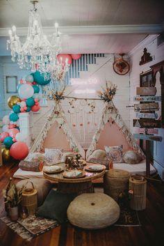 Boho Party Spread from a Rustic Boho Sweet 16 Sleepover Party on Kara's Party Ideas | KarasPartyIdeas.com (21)
