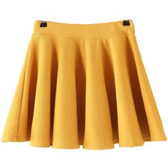 Pleated Flare Yellow Skirt ($9.50) ❤ liked on Polyvore featuring skirts, bottoms, gonne, yellow, short skirts, pleated flare skirt, flare short skirt, flared skirt and short pleated skirt