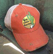 d783afcde9a357 Distressed Vintage Orange Trucker Cap ~ Go Climb a Cactus Details: Medium  weight Cotton Plastic snap back closure Distressed finished Soft Mesh Back  Color: ...