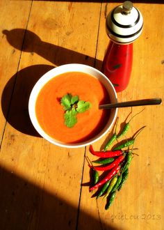 Spicy Red Pepper, Tomato and Lentil Soup
