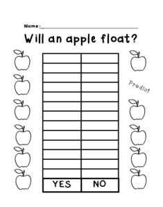 Freebie! Will an Apple Float?  Graphing and science with kindergarten.  Your students will love this experiment.