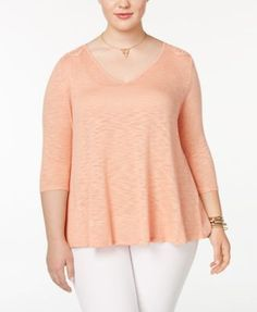 Jessica Simpson Trendy Plus Size Murielle Lace-Up-Back Top - Orange 3X
