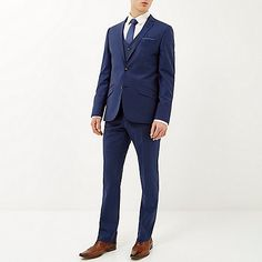 Grey check slim suit trousers - slim fit - suits - men ...