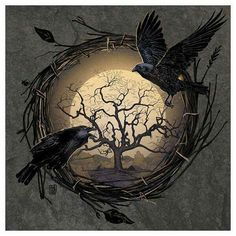 Raven/Crow and the Moon with the Tree of Life or perhaps the Tree of Knowledge Crow Art, Raven Art, Fantasy Kunst, Fantasy Art, Corvo Tattoo, Vikings, Rabe Tattoo, Quoth The Raven, Arte Obscura