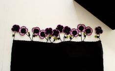 Violets on the Tube Shaped Black Scarf, Crochet Purple Violets, Beadwork, Christmas Gift Ideas for Her, ReddApple, Fashion Accessories