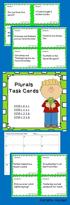 Download or pin to your Language Arts Board! 24 Plurals Task Cards Janetta Hayden Grammar Activities, Teaching Grammar, Teaching Tools, Teaching Ideas, Reading Resources, School Resources, Word Work, Task Cards, Phonics