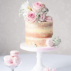 Pretty in pink vintage themed semi-naked birthday cake… adorned with fresh florals, large sugar pearls and our Strawberry Milkshake macarons! Pretty Cakes, Beautiful Cakes, Amazing Cakes, 16 Cake, Cupcake Cakes, Cake Fondant, Baby Cakes, Buttercream Cake, Bolos Naked Cake