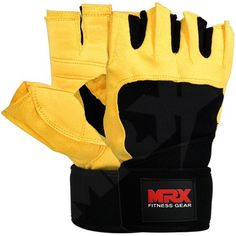 MRX Weight Lifting Gloves Pro Series with Wrist Support Yellow XXLarge ** Click image for more details.