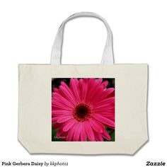 """Pink Gerbera Daisy Jumbo Tote Bag"" by Kay Novy, (kkphoto1). I got this bag yesterday and its just beautiful!  The size of the bag is perfect (big) for groceries or a morning trip to farmer's market!"