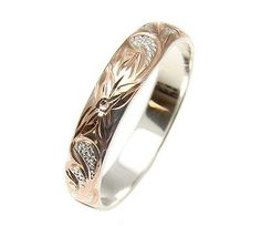 4MM ROSE GOLD PLATED SILVER 925 HAWAIIAN PLUMERIA SCROLL BAND RING SIZE 1 TO 12