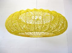 DIY crochet lampshade by moonbasket Lampe Crochet, Crochet Lampshade, Crochet Art, Crochet Patterns, Objet Deco Design, Crochet Home Decor, Mellow Yellow, Lamp Shades, Crochet Projects