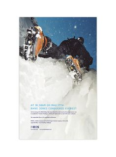 INEOS everest campaign - 1 of a series of national press ads that delivered the news of this world record