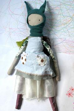 rag doll scrap-happy rabbit hat brown hair waldorf inspired dolly JOY. $74.95, via Etsy.