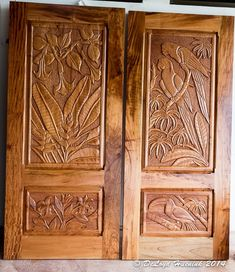 """Today, Sunday, we got our first look at our new doors...not all of them, but 4 of the carved doors and 4 of the """"plain"""" ones. The carved ones were done by a local wood carver from photos I have taken in Costa Rica. The wood is beautiful and hard. The frames have…"""