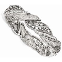 1928 Jewelry - Silver-tone White Crystal Filigree Stretch Bracelet ($28) ❤ liked on Polyvore featuring jewelry, bracelets, filigree jewelry, white jewelry, silvertone jewelry, crystal jewelry and crystal stone jewelry