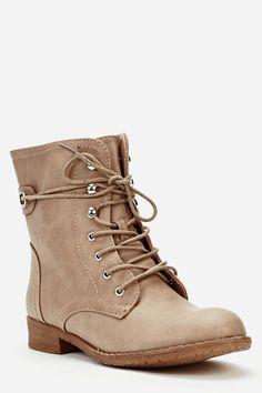 Zip Side Khaki Biker Boots