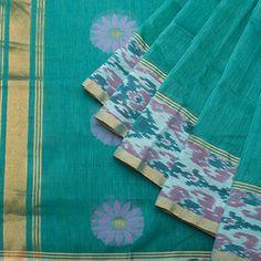 Linen - Lily Saris - Emerald green Venkatagiri weave w Indonesian ikat border - green blouse.