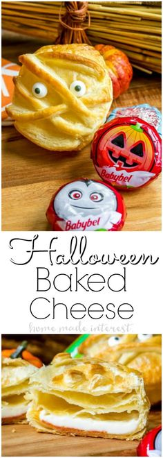 This Halloween Baked Cheese in a puff pastry is a great Halloween appetizer that makes the perfect Halloween party food. This is like a mini baked brie appetizer using Mini Babybel cheese instead via #ad #BabybelTarget