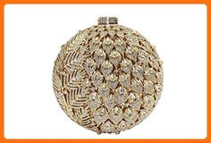 Yilongsheng Women's Glittery Round Clutch Handbags with Long Leaves Crystal Diamonds(Gold) - Evening bags (*Amazon Partner-Link)