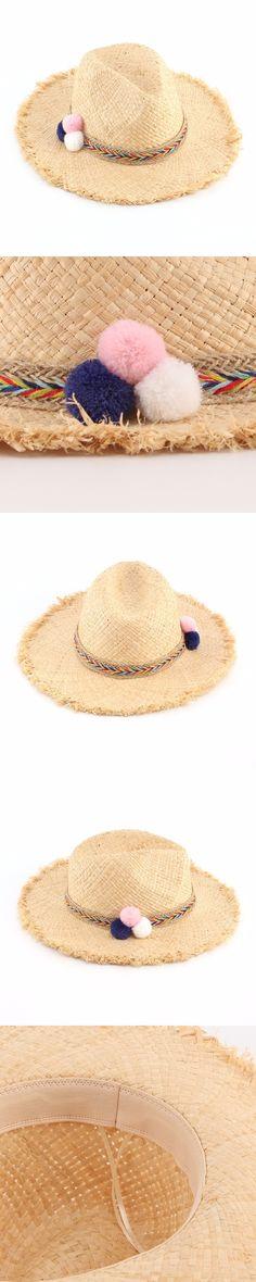 Women Summer Panama Straw Hats Chapeu Feminino Praia Ladies Color Full Balls Ribbon Sun Beach Hat