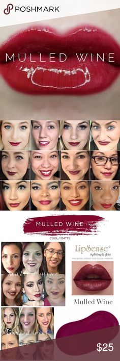 Mulled Wine Lipsense Lipstick Brand new. Price firm. LipSense is a patented, amazing departure from conventional lipsticks and lip colors. LipSense is versatile in that you can mix shades to create a number of effects.  Unique product is waterproof and does not kiss off, smear off, rub off, or budge off! Does not dry out your lips – it works to restore the moisture content Color lasts anywhere between 4 and 18 hours LipSense Makeup Lipstick