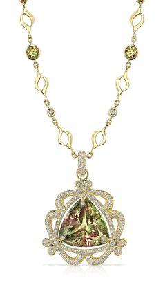 18k Gold and Diamond Zultanite Pyramid Necklace by #AGSMember #Erica Courtney® #AmericanGemSociety  @pinterest.com/amergemsociety/