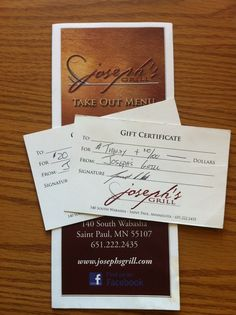 Joseph's Grill on Wabasha has generously donated $40 of gift certificates.