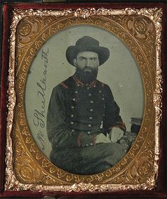 "Confederate 1/6th Plate Ambrotype. The sitter on the left had the foresight to scratch his name – M. Shuttleworth – into the field of his portrait. Professional research reveals him to be Morgan Shuttleworth, Co. ""H"", 36th Alabama Infantry."