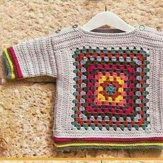 Crochet baby sweater granny square ideas for 2019 Crochet Toddler Sweater, Crochet Baby Sweaters, Crochet Baby Clothes, Crochet Cardigan, Crochet For Kids, Baby Knitting, Granny Square Häkelanleitung, Granny Square Crochet Pattern, Crochet Granny