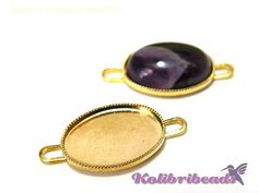 2x Gold plated Milled Edge Settings for by KolibriBeadSupplies