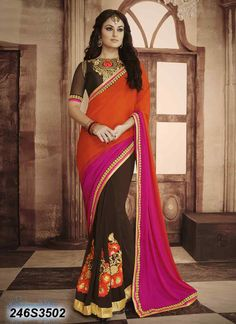 Beautiful Brown Coloured Georgette Embroidered Saree