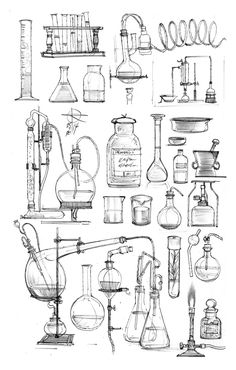 Best sketches of 2014 Art Sketches, Art Drawings, Chemistry Art, Petit Tattoo, Bottle Drawing, Halloween Doodle, Object Drawing, Science Art, Art Inspo