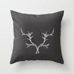 Rustic Antlers Woodland Decorative Pillow by bellesandghosts, $36.00
