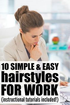 If you're looking for hairstyles for work that are easy to do, but look sleek and professional, this collection of hair tutorials is a great place to start. It is filled with updos for medium-length hair and long hair, and since updos always work best with dirty hair, these make the perfect running late hairstyles for mornings when you hit the snooze button one too many times. Full instructional tutorials included!