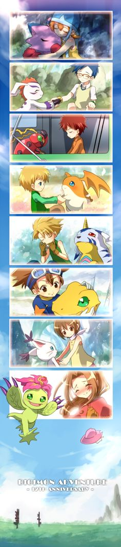 <3 Aww. The last episode of season one when they have to say goodbye to each other. So bittersweet. Digimon Adventure 12th Anniversary.