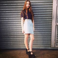 #Vintage #denim skirt and vintage #polkadot blouse by #NewWeekends COMING SOON