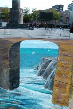 street art by gregor wosik street art street art graffiti, street 3d Street Art, Murals Street Art, Amazing Street Art, Art Mural, Street Art Graffiti, Amazing Art, 3d Sidewalk Art, Illusion Kunst, Pavement Art