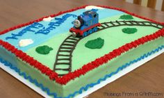 Thomas the tank engine cake from Musings From a SAHM.com