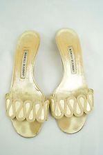Manolo Blahnik Gold Leather Slide Kitten Heels 37 US 6.5 Needs TLC A2