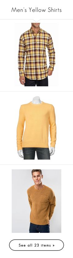 """""""Men's Yellow Shirts"""" by eternalfeatherfilm on Polyvore featuring men's fashion, men's clothing, men's shirts, men's casual shirts, yellow, mens longsleeve shirts, mens flannel shirts, mens long sleeve casual shirts, mens yellow long sleeve t shirt and mens yellow flannel shirt"""