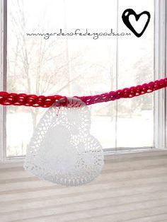 Finger Knit Valentine's Garland