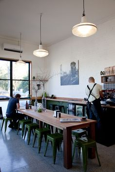 Melbourne cafe, green stools...