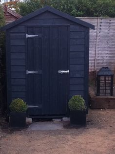 Farrow  and Ball Downpipe perfect for the back shed. Now to pick a fun colour for the sliding door...?!