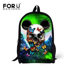 b4093cc2712f FORUDESIGNS Cool 16 Inch School Bags for Kids Baby Cute Skull Print  Schoolbag Small Backpack Children Boys Girls Mini Book Bag