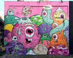 Murals Street Art, Grafitti Street, Mural Art, Urbane Kunst, Graffiti Words, Sketch Inspiration, Monster Art, Eye Art, Street Artists